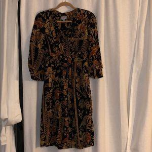 Silk Print- Zip front dress